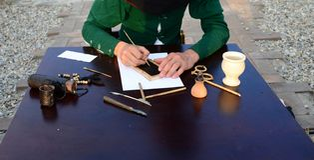 中世纪抄写员细节 免版税库存照片