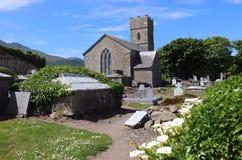 中世纪教会和坟墓围场,爱尔兰 库存照片