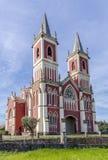 中世纪教会在Cobreces,坎塔布里亚,西班牙 免版税库存图片