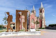 中世纪教会在Cobreces,坎塔布里亚,西班牙 免版税库存照片
