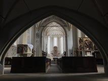 中世纪教会在Sighisoara,罗马尼亚 库存照片
