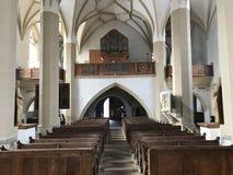 中世纪教会在Sighisoara,罗马尼亚 免版税库存图片