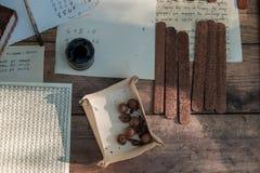 中世纪文字 为古老文字的工具 染睫毛油和羽毛 库存图片
