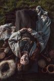 中世纪斯堪的纳维亚妇女葬礼  图库摄影