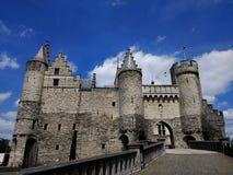 中世纪斯滕城堡,安特卫普,比利时 库存图片
