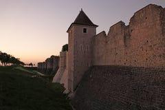 中世纪普罗万城市墙壁日落的在法国 图库摄影