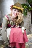 中世纪服装当事人的参与者 免版税库存照片