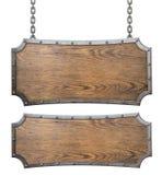 中世纪木标志设置了与链3d例证 免版税图库摄影