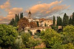 中世纪村庄在托斯卡纳 库存照片