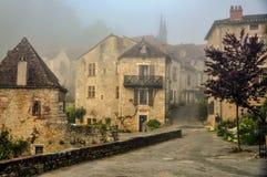 中世纪村庄在西南法国 库存照片