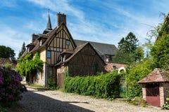 中世纪村庄房子在法国 库存照片