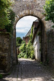 中世纪村庄房子在法国 库存图片