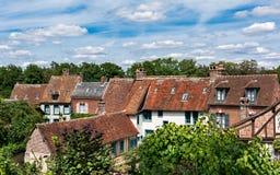 中世纪村庄房子在法国 免版税库存照片