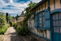 中世纪村庄房子在法国 免版税图库摄影