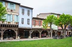 中世纪村庄Mirepoix 库存图片