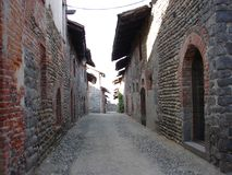 中世纪村庄ricetto二坎德洛 免版税图库摄影