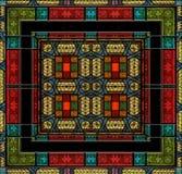 中世纪样式彩色玻璃或瓦片 库存图片