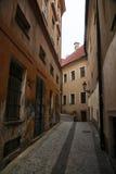 中世纪欧洲镇老狭窄的鹅卵石街道的照片  免版税库存照片