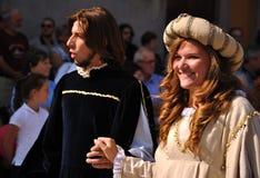中世纪游行在意大利 库存照片