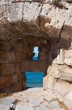 中世纪漏洞在海岛罗得岛,希腊上的老镇。 免版税库存图片