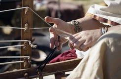 中世纪的织布机 库存照片