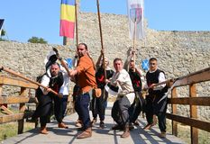 中世纪矛兵战士 库存图片