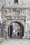 中世纪石城堡门,例证 库存图片