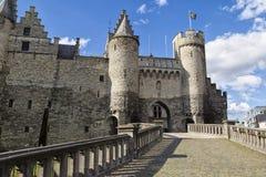 中世纪石堡垒Het斯滕,安特卫普市,比利时 免版税图库摄影