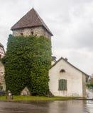 中世纪石塔斯坦上午莱茵瑞士 免版税库存图片