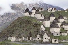 中世纪穹顶复杂在Dargavs村庄  免版税库存图片