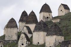 中世纪穹顶复杂在Dargavs村庄  库存照片