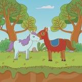 中世纪童话设计传染媒介例证马和独角兽  库存例证