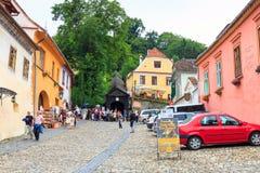 中世纪罗马尼亚sighisoara街道视图 库存照片