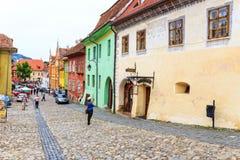 中世纪罗马尼亚sighisoara街道视图 免版税库存图片