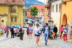 中世纪罗马尼亚sighisoara街道视图 免版税库存照片