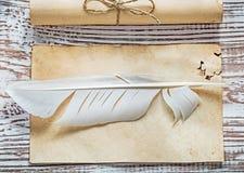 中世纪羊皮纸被捆绑的纸在葡萄酒木头公猪滚动纤管 库存照片
