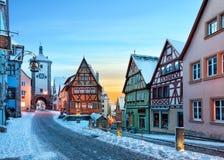 中世纪老Rothenburg ob der陶伯 库存照片