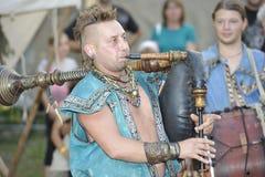 中世纪节日的吹风笛者,纽伦堡2013年 免版税库存图片
