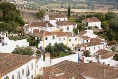 中世纪葡萄牙村庄Obidos的看法 免版税库存照片