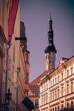 中世纪街道在老塔林 库存图片