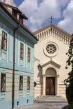 中世纪街道视图在Sighisoara城堡,罗马尼亚 免版税库存照片