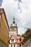 中世纪街道视图在Sighisoara城堡,罗马尼亚 图库摄影