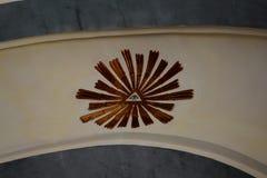 中世纪被加强的修道院的里面教会Crit & x28的; Kreutz& x29; 特兰西瓦尼亚 库存照片