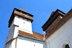 中世纪被加强的撒克逊人的教会在Homorod,特兰西瓦尼亚 免版税图库摄影