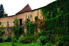 中世纪被加强的教会Cristian,特兰西瓦尼亚的庭院 库存照片