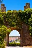 中世纪被成拱形的门,防御内墙,旅行葡萄牙 库存图片