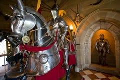 中世纪装甲的马 免版税库存照片
