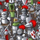 中世纪装甲的骑士形成手拉的无缝的样式,战士武器 免版税库存图片