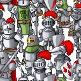 中世纪装甲的骑士形成手拉的无缝的样式,战士武器 库存照片