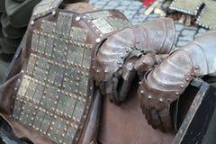 中世纪装甲的骑士 库存图片